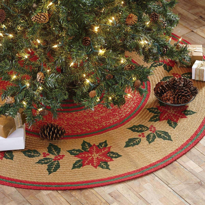 Poinsettia Jute Tree Skirt 50