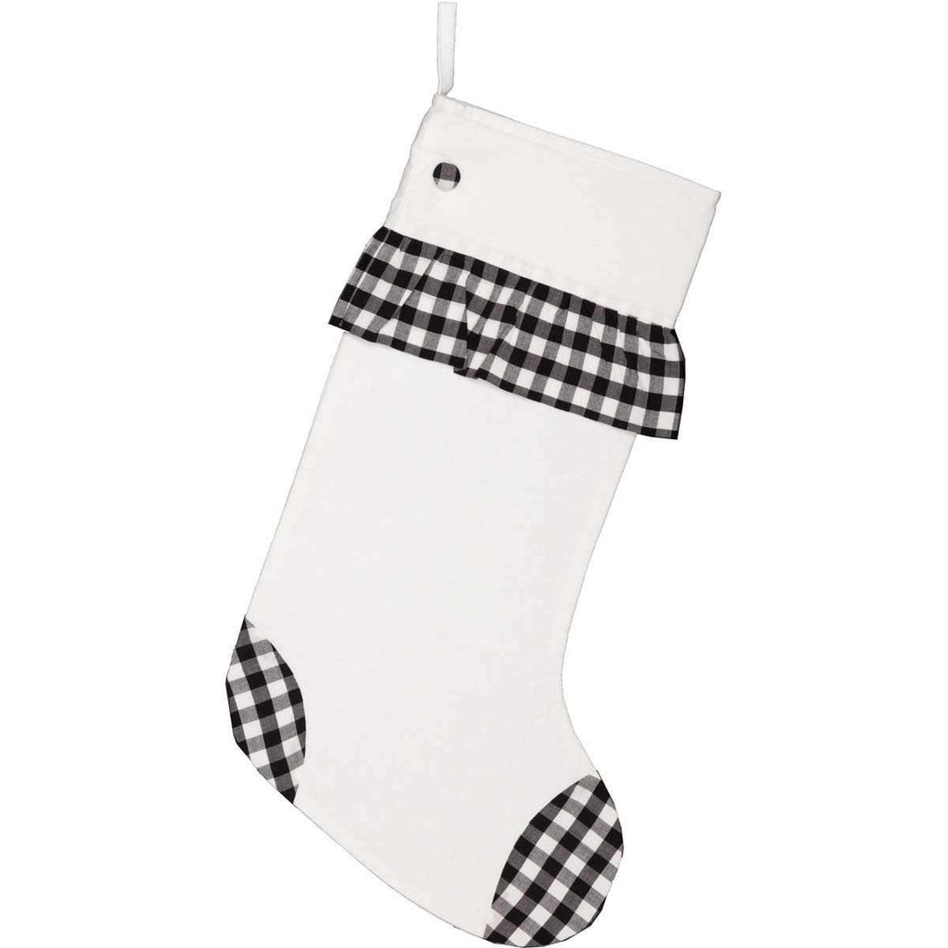 Emmie Black Check Ruffle Stocking 12x20 VHC Brands