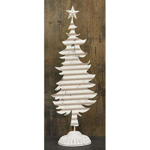 "Corrugated Cream Christmas Tree, 16"" Tabletop & Decor CWI+"