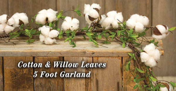 Cotton & Willow Leaves Garland, 5ft Cotton Florals CWI+