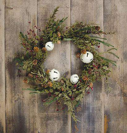 "Country Bell Pine Wreath - 20"" Christmas CWI+"