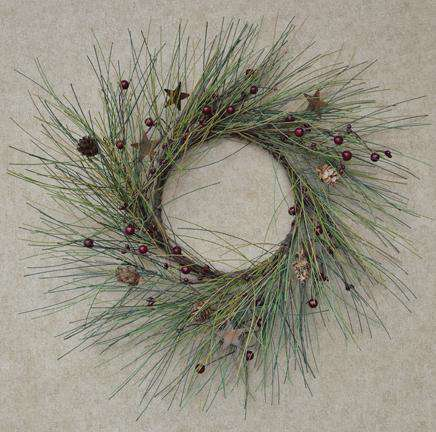 "Country Needle Pine Wreath, 14"" Christmas CWI+"
