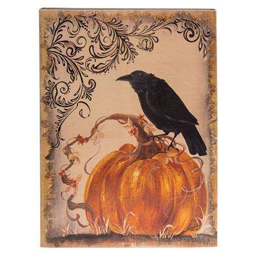 Crow & Pumpkin Wood Sign Wall CWI+
