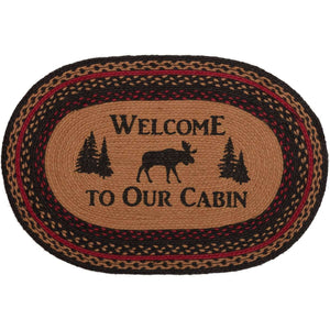 Cumberland Stenciled Moose Jute Braided Rug Oval/Rect Welcome to the Cabin VHC Brands rugs VHC Brands 20x30 inch Oval
