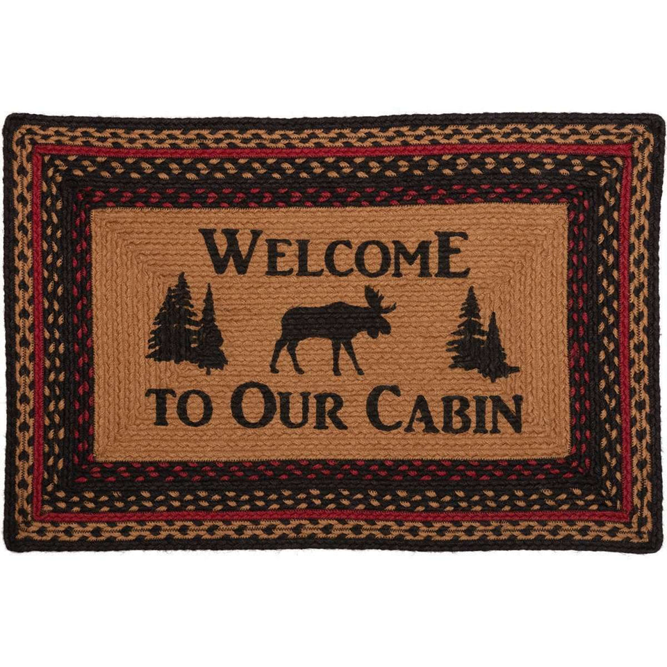 Cumberland Stenciled Moose Jute Braided Rug Oval/Rect Welcome to the Cabin VHC Brands rugs VHC Brands 20x30 inch Rect