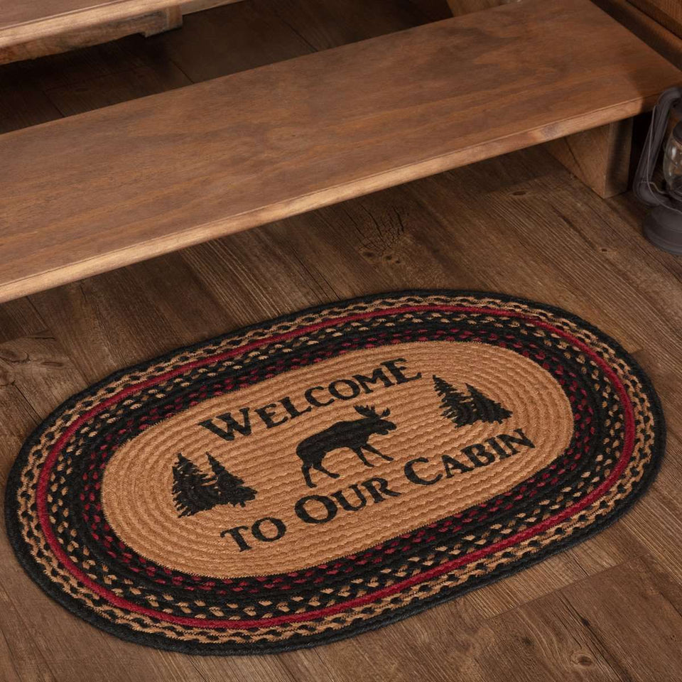 Cumberland Stenciled Moose Jute Braided Rug Oval/Rect Welcome to the Cabin VHC Brands rugs VHC Brands