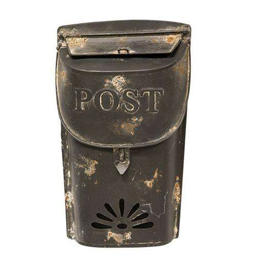 "Distressed Black Post Box, 11"" Mail and Post Boxes CWI+"
