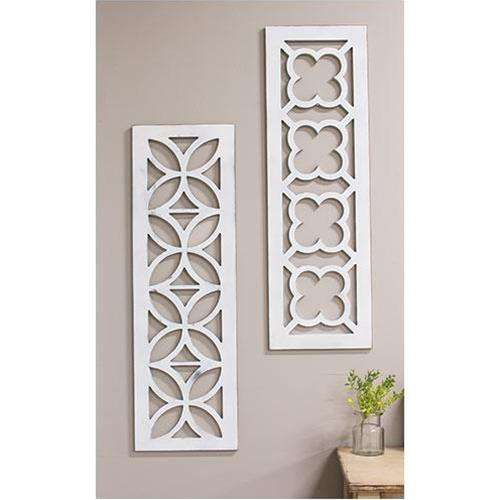 Distressed White Geometric Window Cutout Wall Decor CWI+
