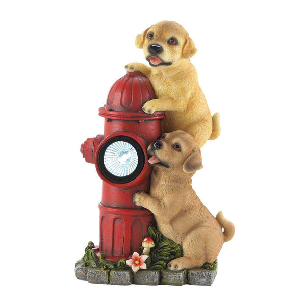 Dogs Fire Hydrant Solar Statue - The Fox Decor