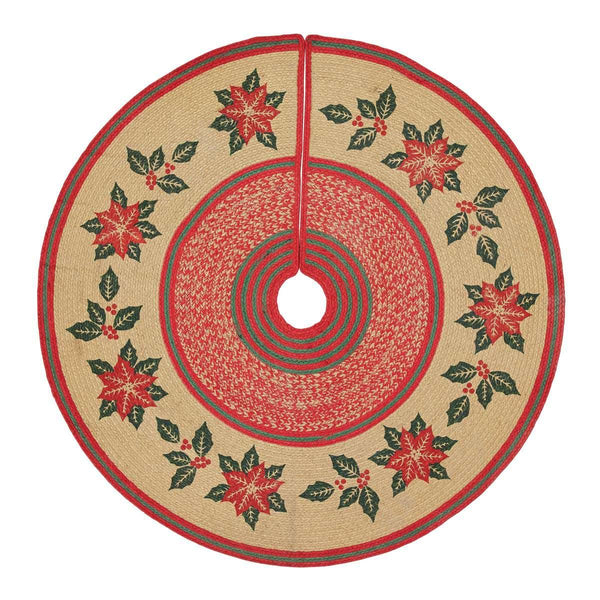 Poinsettia Jute Christmas Tree Skirt 50 VHC Brands
