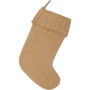 Festive Natural Burlap Ruffled Stocking 11x15 VHC Brands
