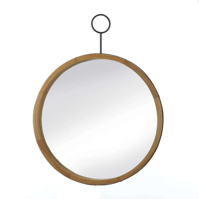 Eva Round Wood Mirror With Hook