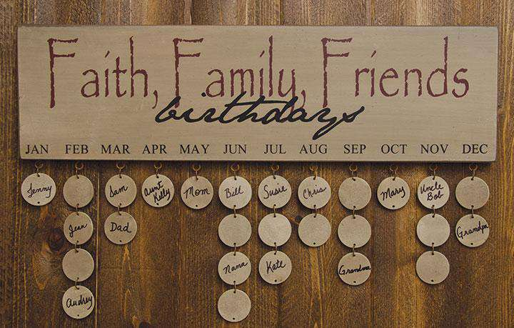 Faith Family Friends Birthday Calendar - Burgundy Calendars CWI+