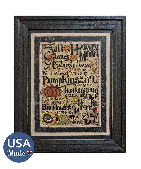 Fall Words Framed Print Fall Framed Art CWI+