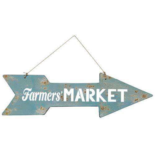 Farmers Market Arrow Metal Signs CWI+