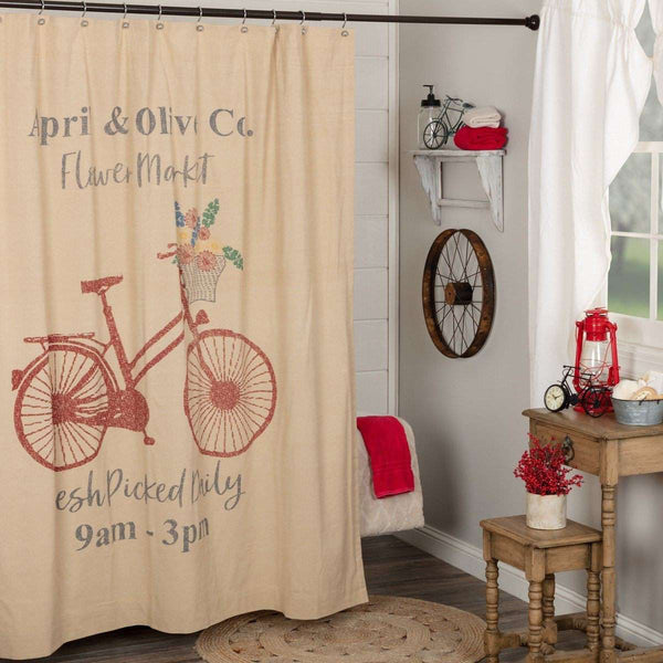 "Farmer's Market Flower Market Shower Curtain 72""x72"" curtain VHC Brands"