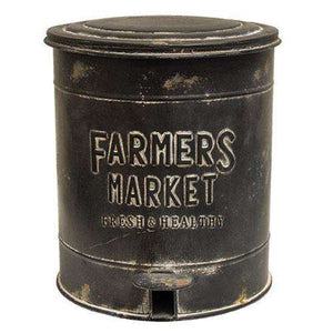 Farmers Market Metal Trash Bin with Pedal to Open Lid Farmhouse Decor CWI+