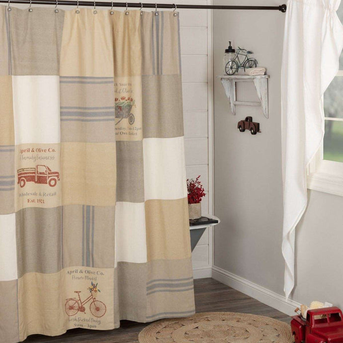 Farmer's Market Stenciled Patchwork Shower Curtain 72