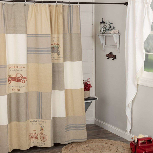 "Farmer's Market Stenciled Patchwork Shower Curtain 72""x72"" curtain VHC Brands"