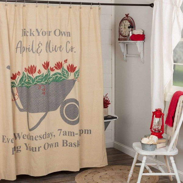 "Farmer's Market Wheelbarrow Shower Curtain 72""x72"" curtain VHC Brands"