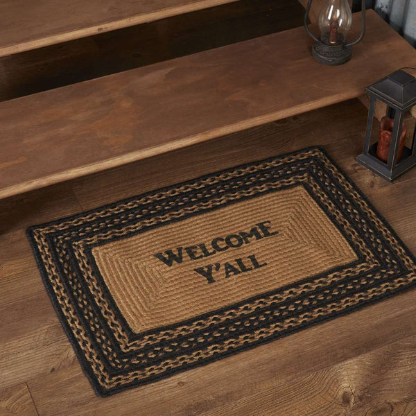 Farmhouse Braided Jute Rug Oval/Rect Stencil Welcome Y'all VHC Brands rugs VHC Brands 20x30 inch Rect