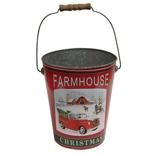 Farmhouse Christmas Bucket Buckets CWI Gifts
