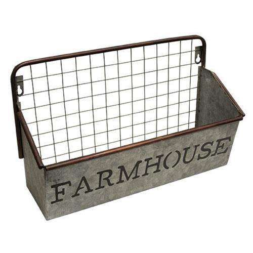 Farmhouse Galvanized Wall Basket Baskets CWI+