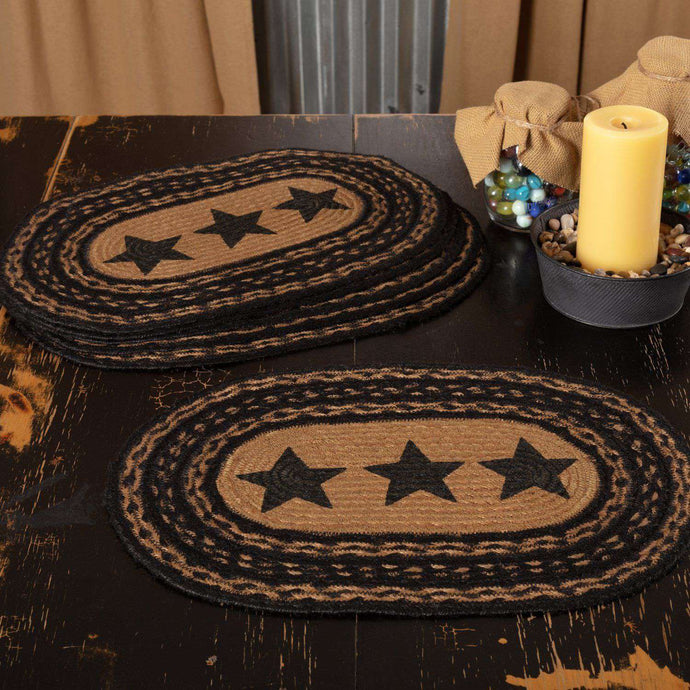 Farmhouse Jute Braided Placemats Stencil Stars Set of 6 table mats VHC Brands