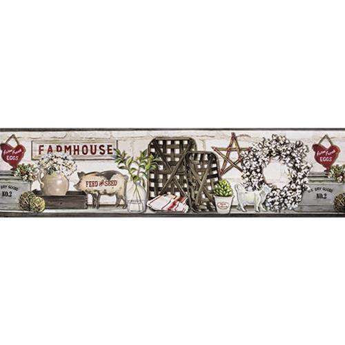 Farmhouse Shelf Wall Border Wallpaper Borders CWI+