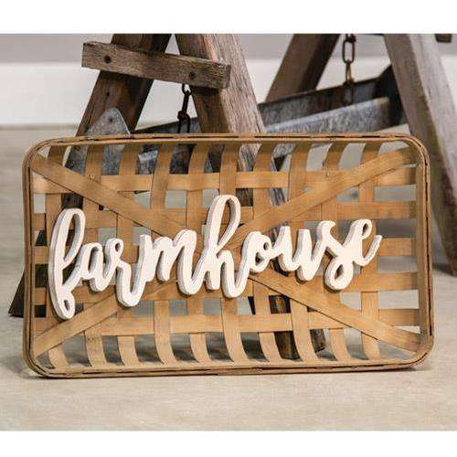 Farmhouse Tobacco Basket Wall Art Prairie Style Decorating CWI+