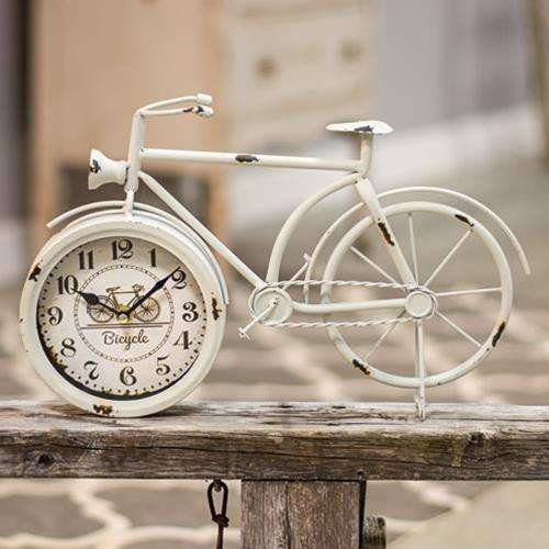 Farmhouse White Bicycle Clock Clocks CWI+