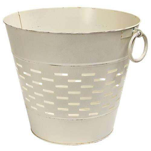 Farmhouse White Olive Bucket, 12 inch Buckets & Cans CWI+