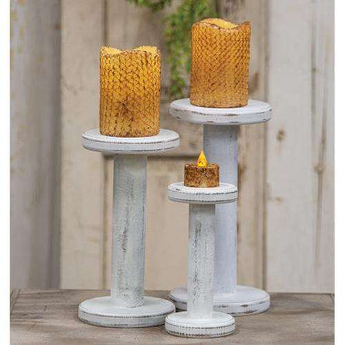 "Farmhouse White Spool Candleholder, 10.75"" Taper Holders CWI+"