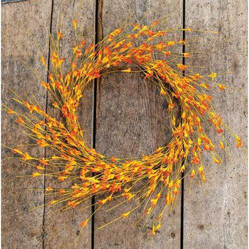 Wispy Orange Buds Flower Wreath, 22