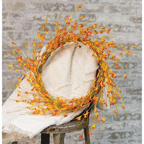 "Wispy Orange Buds Flower Wreath, 22"" - The Fox Decor"
