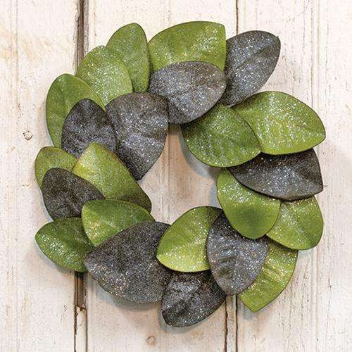 "Vintage Glitter Magnolia Leaves Wreath, 16"" - The Fox Decor"