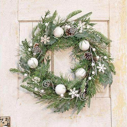 White Christmas Wreath, 24""