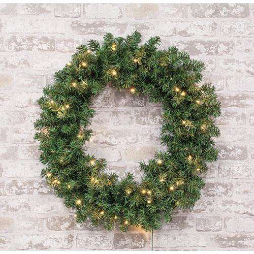 "Pre-Lit Noble Fir Wreath, 50ct, 24"" - The Fox Decor"