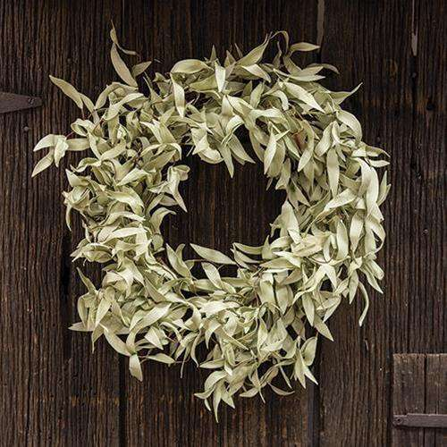"Flocked Leaves Wreath, 24"" Everyday CWI+"