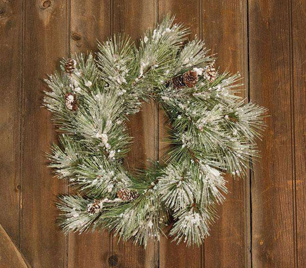 "Flocked Pine Wreath w/Pinecones, 18"" Artificial Trees & Greenery CWI Gifts"