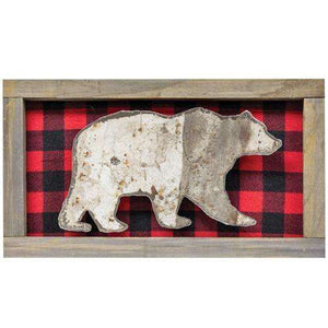 Framed Bear Cutout w/Plaid Background General CWI+