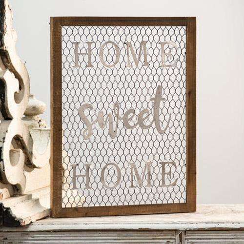 Framed Chicken Wire Wall Art - Home Sweet Home Farmhouse Decor CWI+