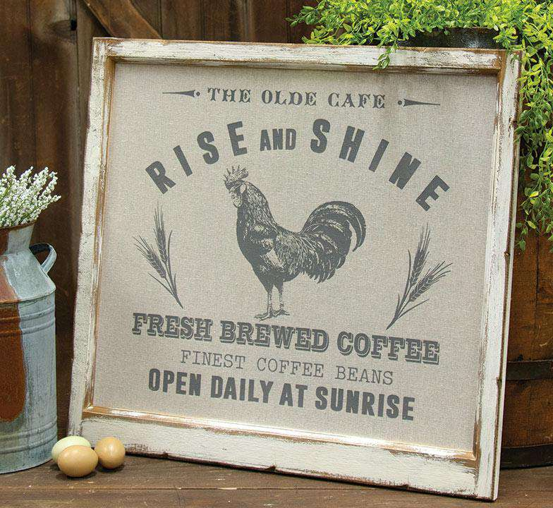 Framed Fabric Rise and Shine Rooster Picture Farmhouse Decor CWI+