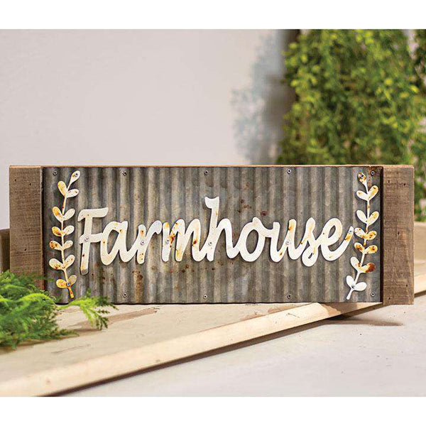 Framed Galvanized Metal Farmhouse Wall Sign Farm Fresh Signs CWI+