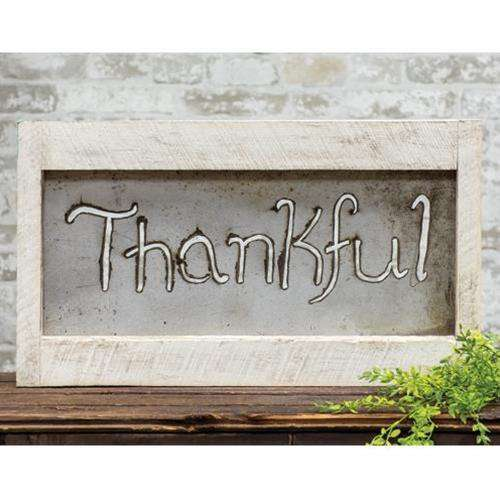 Framed Metal Cutout Thankful Sign General CWI+