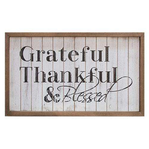 Framed Shiplap Grateful & Blessed Sign Pictures & Signs CWI+