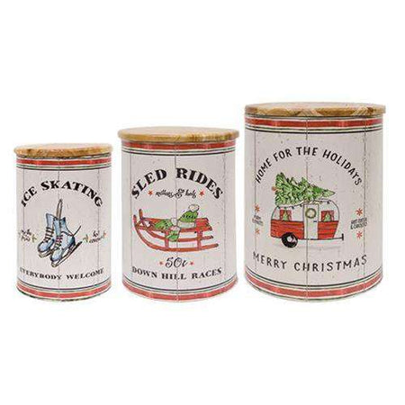 Wintertime Canisters Decorative Vintage buy