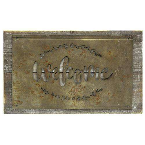 *Welcome Rustic Wood and Metal Sign - The Fox Decor