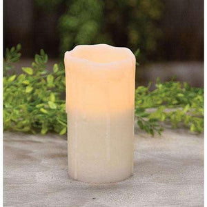 White Dripped Pillar Candle 6 inch