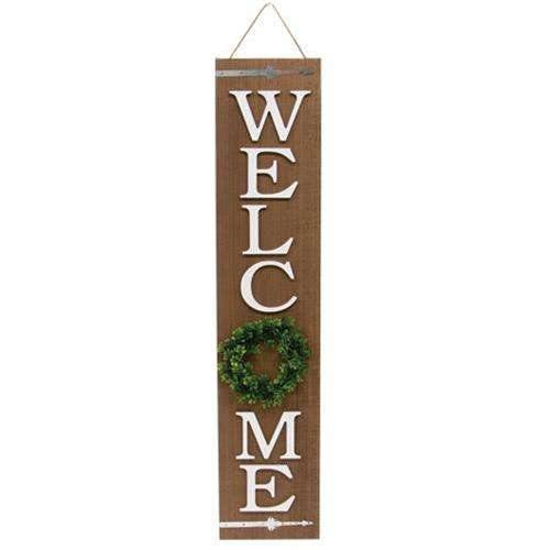 Welcome Floral Wreath Wooden Porch Sign